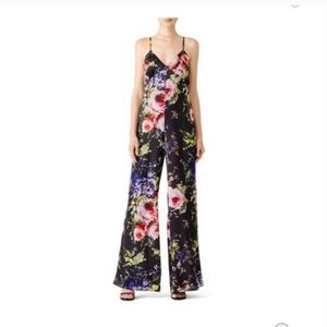 Jay Godfrey Black and Floral Silk Jumpsuit